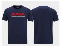 Wholesale 5xl hip hop shirts online – design nasa Short Sleeve Fashion Crew Neck Men Hip Hop Black T shirts Tee Top Plus Size S XL