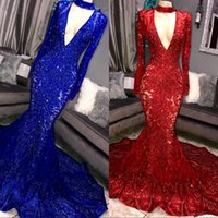 Wholesale sexy girls arts for sale - Vintage Sheer Long Sleeves Royal Blue Red Prom Dresses Mermaid Appliqued Sequined African Black Girls Evening Gowns Red Carpet Dress