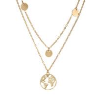 welt halskette gold großhandel-Runde Weltkarte Anhänger Doppelschicht Halskette Mädchen Pailletten geschichtet Gold und Silber Halskette Lady Girl Schmuck