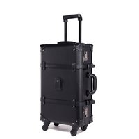 eski deri bagaj toptan satış-BeaSumore Retro Haddeleme Bagaj Dönücü Vintage Deri Bavul Tekerlek Arabası Kadınlar Seyahat Çantası Erkekler Gövde Bagaj Taşımak