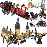 ev blokları inşa et toptan satış-Hagrid Hut Harri Castle House Mini Hayvanlar Yapı Taşları Bricks çocuklar için Noel legoinglys çömlekçileri Oyuncak Şekil