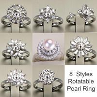 neue verstellbare moderinge großhandel-Drehbare ring 925 silber diy perle ringe einstellungen glänzende zirkon ring für frauen modeschmuck ring für einstellbare größe geschenk neue design