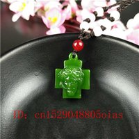 Wholesale green jade crosses resale online - Natural Green Chinese Jade Cross Pendant Necklace Fashion Accessories Charm Jewelry Carved Jesus Amulet Gifts for Women Men