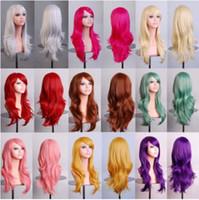 28 inç sentetik saç toptan satış-Renkli 28 inç Sentetik Saç Peruk Uzun Dalgalı Cosplay Kırmızı Yeşil Puprle Pembe Siyah Mavi Şerit Gri Sarışın Kahverengi