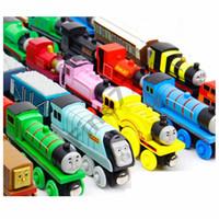ingrosso automobili-74 Styles Trains Friends Wooden Piccoli Treni Cartoon Toys Wooden Trains Car Toys Dai al tuo bambino il miglior regalo DHL Free Shipping