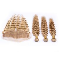 rubio profundo del pelo indio al por mayor-8A Honey Blonde Deep Wave Paquetes de cabello humano rizado con encaje Frontal 3 paquetes Color de cabello # 27 Sin procesar Pelo indio crudo con cierre