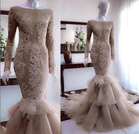 1a0a86449 Vestidos de novia de sirena con cuentas de lujo Nuevos 2019 Casquillo de la  manga larga Apliques de encaje Chapel Train Tiers Falda Vestido sexy Cola  de ...