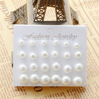 Wholesale mixed colorful earrings resale online - 12 pairs set pearl earrings for women white black colorful mixed size pearl stud earrings fashion girls party wedding ear studs jewelry