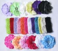 Wholesale peony clip flowers for sale - 13pcs girl multilayer peony with crystal on clips soft crochet headband head wrap baby hair band flower headwear accessories GZ7425