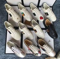 çanta kadın üst kalite toptan satış-En Kaliteli Büyük boy US5-US13 Beyaz siyah Ayakkabı tasarımcısı deri ace ayakkabı adam kadın artı boyutu lüks rahat ayakkabı ...