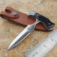 katlanır taktik katlanır bıçaklar toptan satış-Ayarlanabilir Itme Bıçağı Koyu Boynuz Kolu 440C Bıçak Hakiki Deri