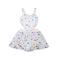 Wholesale cute baby polka dot dress for sale - Group buy 2018 Multitrust Brand Newborn Baby Girl Sequin Backless Bodysuit Jumpsuit Tulle Dress Outfits Polka Dot Cute Summer Sunsuit