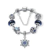 braceletes de vidro de contas de natal venda por atacado-Geração de pulseira de estrela azul natal neve pingente de carro pulseira de pérolas diy contas de vidro enfeites de contas
