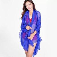 écharpe en soie solide en été achat en gros de-2019 nouvelle mode d'été couleur unie multicolore mince super chiffon soie plage vacances châle dames élégant écharpe