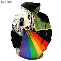 camisolas de panda hoodies venda por atacado-Domi ketty meninos meninas hoodies roupas imprimir panda arco-íris crianças camisolas de manga longa moda infantil bebê casual outwear topos