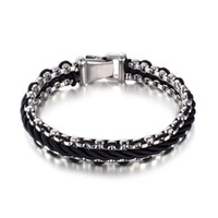 Wholesale 316l stainless steel jewelry links resale online - 316L Stainless Steel Leather Weaving Bracelet Retro Ancient Silver Black Punk Men Thick Heavy Bangle Jewelry