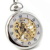 часы для женщин серебристый оптовых-DHL Shipping Silver No Cover Skeleton Mechanical Pocket Watch with Chain Men Women Pocket Watches Wholesale