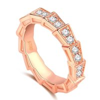 anillos de diamantes de oro rosa vintage al por mayor-Fashion4U99Arrival Vintage Fashion Jewelry 925 Sterling SilverRose Gold Filled Pave White Sapphire CZ Diamond Women Wedding Snake Band Ring