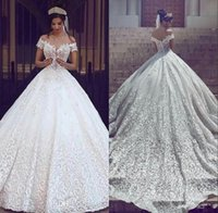 Wholesale wedding dresses plus sizes sleeves online - Vintage Full Lace Wedding Dresses Vestidos De Novia Off the Shoulder Short Sleeves Applique Sweep Train Plus Size Bridal Party Gowns