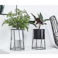 Wholesale glazed metal resale online - Decorative Metal Flower Pot Stand Home Desktop Balcony Garden Plant Holder Display Planter Iron Flower Stand Gardening Supplies T200104