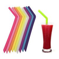 pastel de pops de papel pajitas al por mayor-Paja reutilizable de consumición de la categoría alimenticia para la paja de beber del gel de silicona de la taza de 20oz 30oz L245mm X OD11mm X ID8.5 Mm