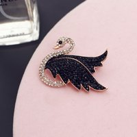 Wholesale gold swan brooches resale online - Elegant elegant rose gold swan high grade brooch jewelry exquisite high end zircon brooch female pin fashion simple coat scarf buckle