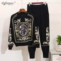 Wholesale set two oil paintings resale online - Fashion Piece Set Women Tracksuit Autumn Winter New Oil Painting Embroidered Sweater Leisure Pants Two Pieces Knitting Suit