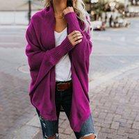 jaqueta longa da luva do bastão venda por atacado-Outono e Inverno de Moda de Nova Camisas das Mulheres Cor Sólida Bat Sleeve Cardigan Longo Camisola de Malha Jaqueta