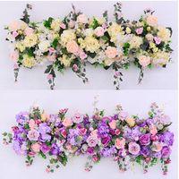 soie camélia bleu achat en gros de-Personnalisé mariage arrangement de fleurs simulation faux fleur décoration accessoires arche fleur mariage scène route plomb arrangement