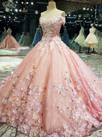 Wholesale white quinceanera red flowers resale online - 2020 New Luxury Ball Gown Quinceanera Dresses Off the Shoulder Lace Appliques Crystal Beaded With Flowers Sweet Party Prom Evening Gowns