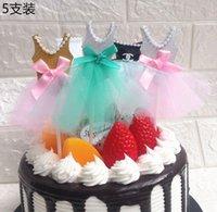 bebek showları elbiseleri toptan satış-20 adet / grup Cupcake Dekor Bebek Duş Yaratıcı Inci Peçe Prenses Elbise Kek Toppers Dekorasyon Bebek Doğum Günü Parti Malzemeleri