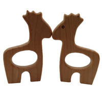 Wholesale wooden giraffe toys online - 10pcs Wooden giraffe Teethers Nature Baby Teething Toy Organic Eco friendly Wooden Teething Holder Nursing Baby Teether DIY Accessory