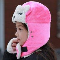 Wholesale warm earmuffs women resale online - Hat Men And Women Winter Warm Earmuffs Lei Feng Hat Children s Embroidery Cute Cartoon Hat Outdoor Cycling Parent child Cap EEA215