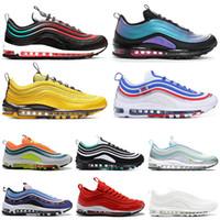 kadın golf ayakkabıları toptan satış-Nike Air Max 97 97s Shoes Yanardöner Erkek Koşu Ayakkabıları All-Star Jersey bir Gün Var Üzüm Metalik Paketi Üçlü Beyaz Siyah Kadın Atletik Spor Sneakers 36-45