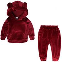 Wholesale cashmere for kids clothes resale online - Baby Boys Girls Velvet Hooded Clothing Set Kids Jacket Coat Pants Suit for Sports Suits Tracksuits Toddler Children Clothes SetMX190916