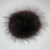 Wholesale clothing keychains for sale - Group buy raccoon fur ball pompons CM for knitted hat clothes keychains custom colour with metal snap button