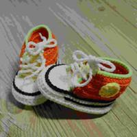 tığ işi spor ayakkabıları toptan satış-QYFLYXUEQYFLYXUE-Ücretsiz nakliye, bebek patikleri% 100 pamuk 0-12M Fotoğraf sahne örme Crochet bebek el yapımı Spor ayakkabı