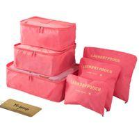 bolsas de embalaje para la ropa al por mayor-6 Set Bolsas de almacenamiento de viaje Ropa multifuncional Paquetes de clasificación Bolsas de embalaje de viaje Bolsa de equipaje organizadora