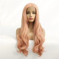 fronts de dentelle synthétique vague indienne achat en gros de-cheveux lumière vague de corps rose cheveux vague eau perruques dentelle de style avant perruque synthétique de fibres de cheveux pour les femmes indiennes d'Afrique du Brésil Livraison gratuite