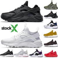 klasik açık hava ayakkabıları toptan satış-Stok X 2020 Classic Huarache 1.0 4.0 Koşu Ayakkabı Üçlü Siyah Beyaz Zeytin Huraches 1s Erkekler Kadınlar Açık Casual Eğitmen Sneakers 36-45