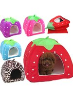 Wholesale folding dog houses resale online - Leopard Dog Bed Strawberry Cave Dog House Folding Soft Autumn And Winter Warm Breathable Small And Medium Dog Cute Kennel Cat Bed House