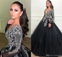 Wholesale 18w little black dress resale online - 2020 Luxury Black Sequined Ball Gown Evening Dress Long Sleeves Deep V Neck Prom Patry Gown Elegant Beaded Quinceanera Dresses BC2167