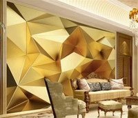 Wholesale luxury gold wallpaper for sale - Group buy Custom Wallpaper d Luxury Gold Geometric Polygon d Stereo European Living Room Bedroom Background Wall Wallpaper