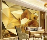 Wholesale gold wallpapers bedroom resale online - Custom Wallpaper d Luxury Gold Geometric Polygon d Stereo European Living Room Bedroom Background Wall Wallpaper