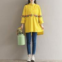 ingrosso vestiti midi gialli-Autunno Primavera Tassel Abito vintage per donna Collo risvolto Abito taglie forti Colore giallo Taglia M-2XL