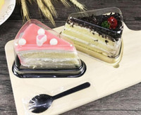 Wholesale individual cakes resale online - New Arrival Plastic Clear Disposable Cake Box Single Individual Inch Triangle Cake Boxes Food Dessert Packaging