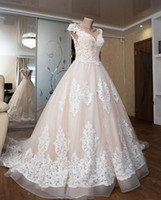 Wholesale vintage princess wedding dresses resale online - 2019 light pink A Line Wedding Dresses Bridal Gowns with tulle Lace appliques gorgeous Wedding Gowns stunning vestidos de novia custom made