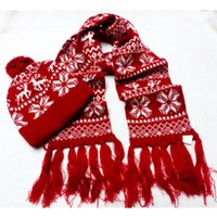 Wholesale knitted cartoon hats resale online - Elk Knit Scarf Hat Sets Woman Cartoon Christmas Knit Beanie Cap Cute Crochet Scarves Outdoor Warm Ski Hat TTA1847