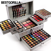 блестящие тени для век оптовых-Hot Miss Rose professional  set in Aluminum box three layers include glitter eyeshadow lip gloss blush for  artist