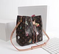 damen blumenmuster handtaschen großhandel-Blumenmusterhandtasche der neuen französischen Spitzenmarkendamen-Schulterbeutelart und weiseleder-Parteireisefrauen freies Verschiffen 1